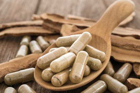 Hongo Lingzhi, Ganoderma, Cápsula de hierbas, Suplemento nutricional, Píldora de vitaminas, Medicina herbaria.