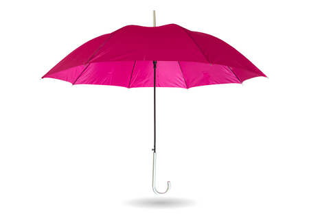 Pink umbrella isolated on white background with clipping path.