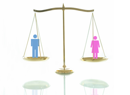 Equality concept. Women and men on beams scales on a white background.