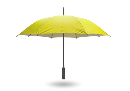 Yellow umbrella isolated on white background with clipping path.
