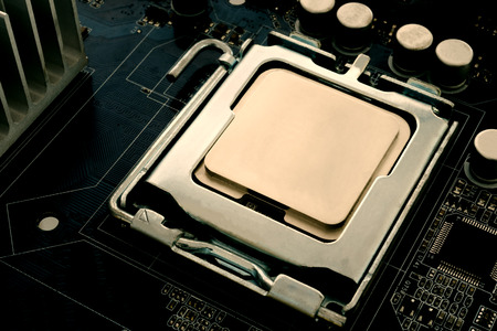 CPU with blank surface for writing texts. The CPU placed on the motherboard is the main circuit of the computer system. Technology and digital concept. Standard-Bild - 116706517