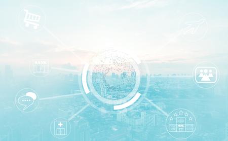 technology internet background concept. smart city with wireless communication network infrastructure interconnected. Standard-Bild - 116706522
