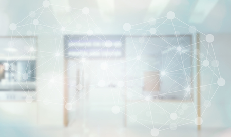 Medical technology connecting with network hospital and blurred laboratory background. Stock Photo