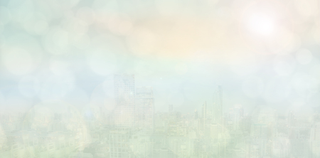 Abstract business background. Blurred city view with bokeh light evening sun. Standard-Bild - 119797795