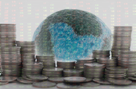 Finance investment world concept. Money stack with mock up globe, stock market quotes background. Standard-Bild - 119798090