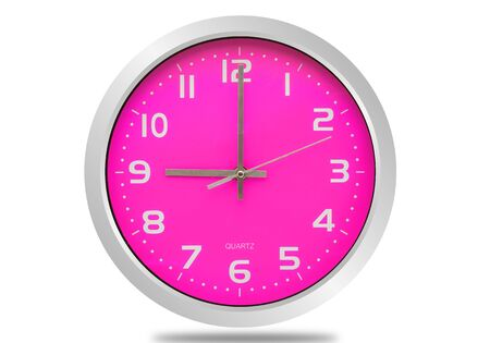 Pink wall clock isolated on white Imagens