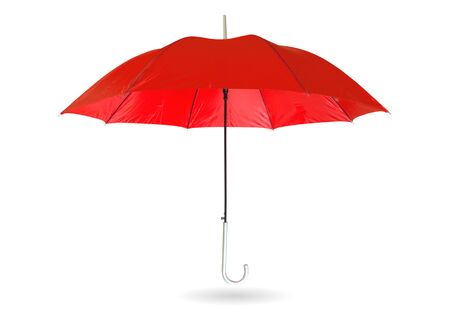 Red umbrella isolated on white  with clipping path.