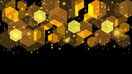 Abstract geometrical with hexagon blurred light yellow and brown. line elements and star.
