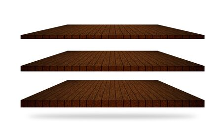 3 wooden tables shelves in different angles isolated on a white Stock Photo