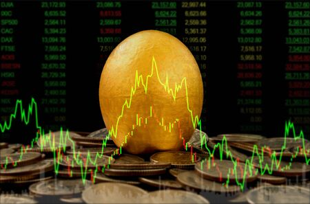 Golden egg on money coins stack with index stock market. return on investment concept. Stock fotó