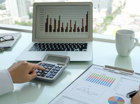 Business analyst checking in financial statement for audit internal control system. Stock fotó