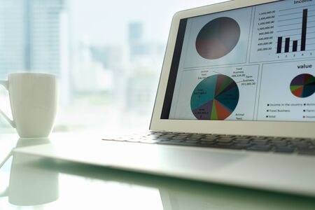 Accounting office desk concept. Balance sheet and business earning report showing on laptop computer screen.