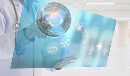 Doctor using digital lnnovative technology in world science and medical. Healthcare And Medicine.