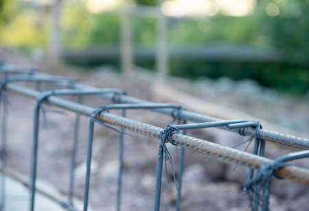 ground beam of structure building at the construction site. Stock Photo