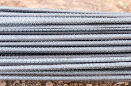 steel bar rebar reinforcement for concrete at construction site.