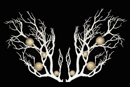 A snow branch with sparkling balls. Stok Fotoğraf