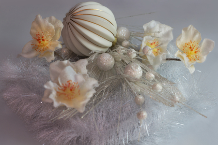 Graceful Christmas arrangement in gold-silver and white. Stock Photo