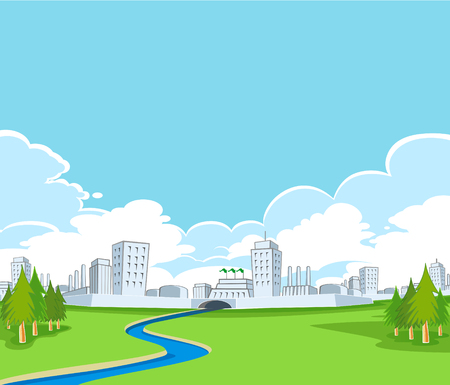 greensward: landscape view of clean factory building on the greensward with cloudy sky background vector Illustration