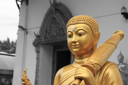 blackwhite: Buddha Statue Black-White Background Stock Photo