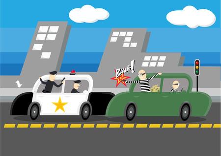 culprit: Police chasing Robber on Road. Illustration