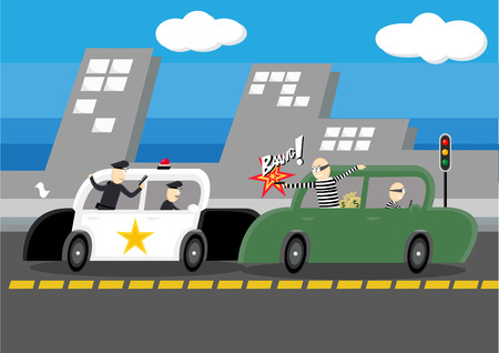 Police chasing Robber on Road. Illustration
