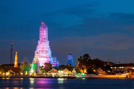 wat arun: Wat Arun After Sunset in Bangkok Thailand.