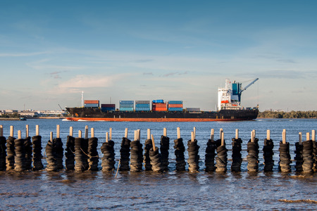 breaker: Wave breaker and Cargo Ship on River