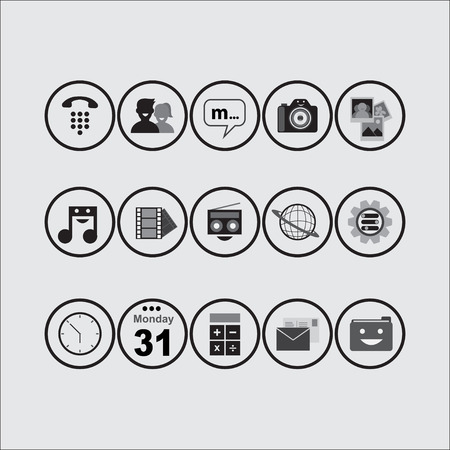 clock radio: Set of Vector Icon for Smartphone and Web Design BW Illustration