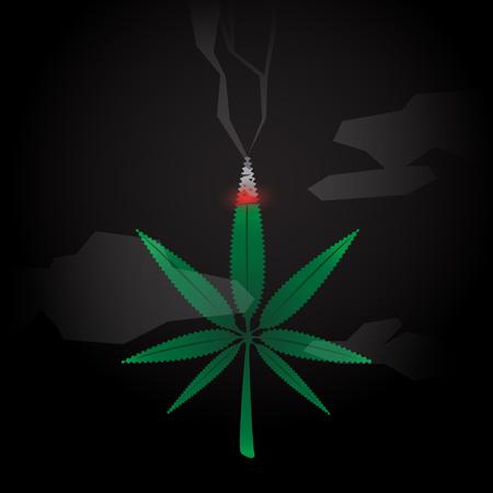 burned: Cannabis Burned with Smoke on Dark Background vector illustration