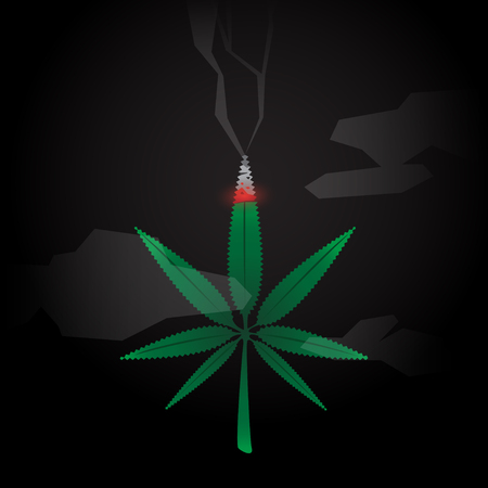 Cannabis Burned with Smoke on Dark Background vector illustration