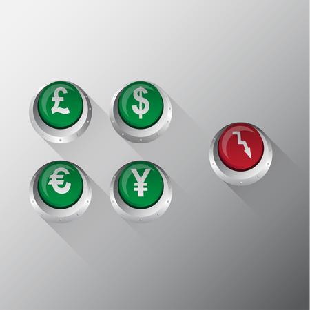 metallic button: Currency Metallic Button vector Illustration