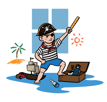 admiral: boy wearing and imagination blind pirate costume, vector illustration