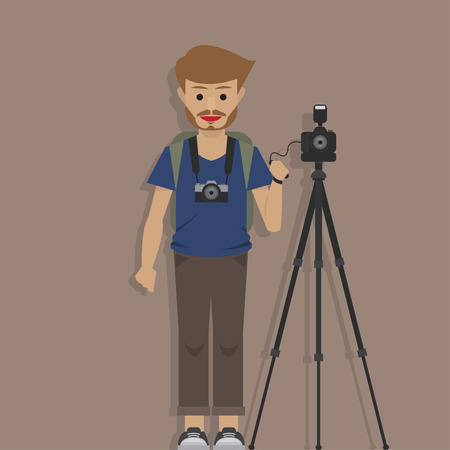 tourist Photographer man, vector illustration