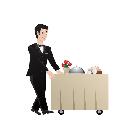 room service: room service waiter, vector illustration Illustration