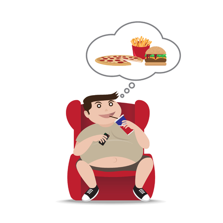 Fat man sitting on armchair, Vector Illustration 向量圖像