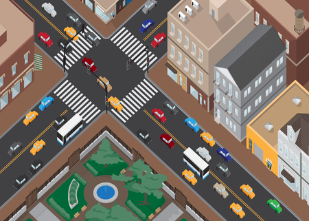 Traffic Town Perspective View, Vector Illustration. Иллюстрация