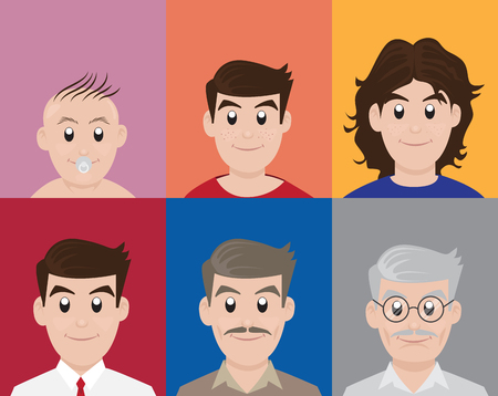Man different generation age and background colors, Vector Illustration. Illustration
