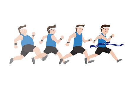 Fat man running 4 step to slim shape, Vector Illustration