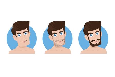 Man and his three beard style, Vector Illustration Illusztráció