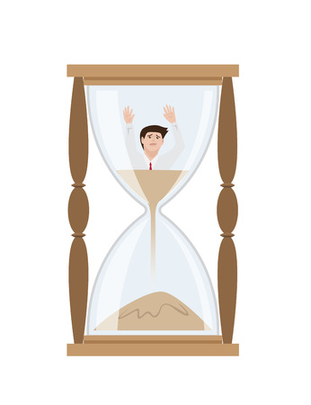 Man get stuck in sandglass, Vector Illustration Stock Illustratie