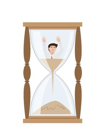 Man get stuck in sandglass, Vector Illustration Ilustração