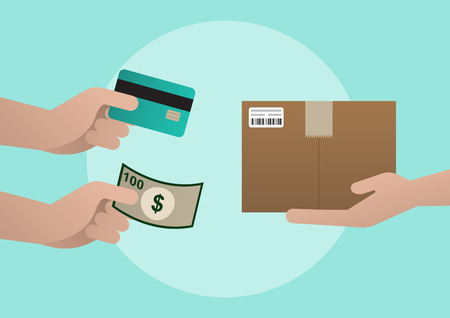 Product delivery, Payment by cash or credit card, Flat design, Vector illustration Çizim