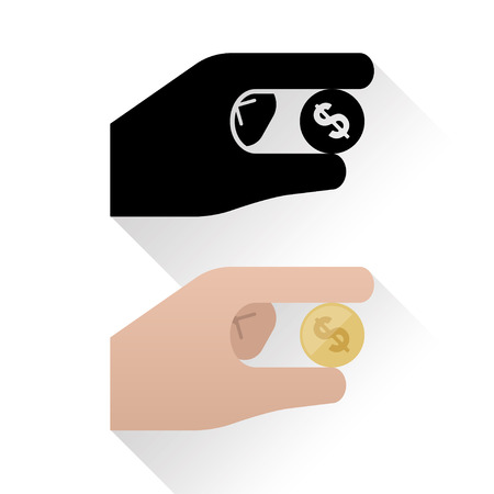 Stylized icon of hand holding a dollar coin, flat design with shadow on white background, Vector Illustration Ilustração