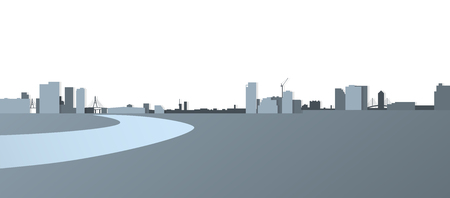 Cityscape panorama view, City building across river, Silhouette flat design on white background, Vector illustration