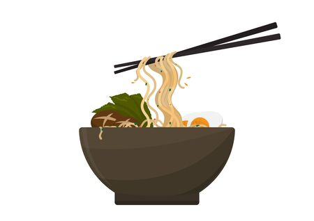 Noodle ramen in ceramic cup with pair chopsticks, egg and seaweed, vector illustration on white background