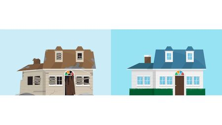 Old abandoned rundown house and new renovation house, comparison of house before and after, repair and renovate, vector illustration
