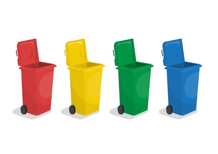 Set of multiple colors plastic garbage trash can with wheel, red, yellow, green, blue colors, wheelie bins, vector illustration isolated on white background