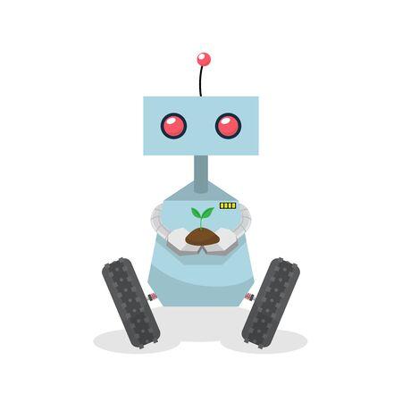 Robot holding plant, vector illustration 矢量图像