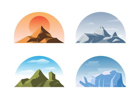 Vector set of isolated different mountains, flat vector collection on white background Иллюстрация