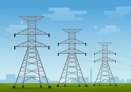 High voltage pole, electric tower on the field with sky and cloud, flat vector landscape background